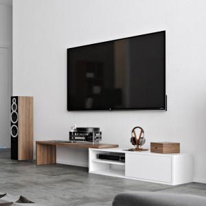 Comoda TV Echo, MDF, alb/nuc