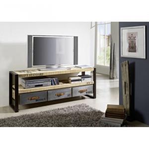 Comoda TV Factory, ecru/negru, 150 x 60 x 40 cm