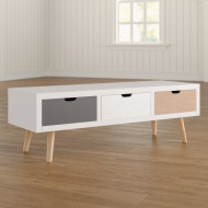 Comoda TV, lemn, alba/maro/gri, 120 x 38,5 x 40 cm