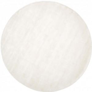 Covor rotund din viscoză țesută manual Jane, diametru 120 cm, alb