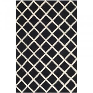 Covor Sandhurst din lână, alb-negru, 121 cm x 182 cm