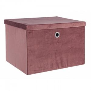 Cutie de depozitare din catifea roz pudra marimea L