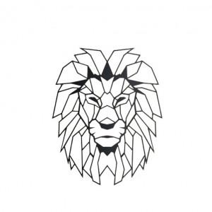 """Decor de perete """"Cap de leu"""", negru, 51 x 40 cm"""