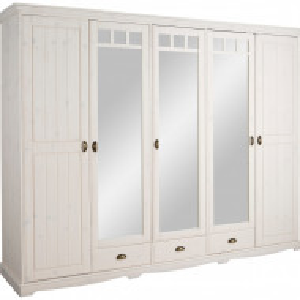 Dressing Claudia Home Affaire, lemn masiv de pin, alb, 251 x 64,5 x 194,5 cm