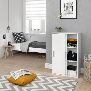 Dulap cu 2 usi Regni, PAL, alb, 108,5 x 68 x 33 cm