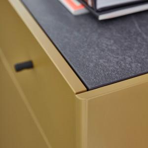 Dulap inalt Monteo III Pal/MDF/metal, masliniu/negru, 55 x 125 x 42 cm