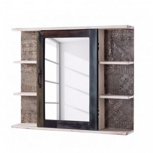 Dulapior cu oglinda GOA salcam din lemn masiv, maro inchis, 88 x 72 x 15 cm