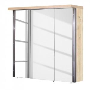Dulapior cu oglinda Harkon PAL/metal/stejar, maro, 76 x 73,2 x 23,7 cm