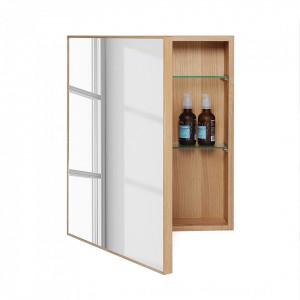 Dulapior de baie cu oglinda Slimline lemn de stejar, maro, 45 x 55 x 12 cm