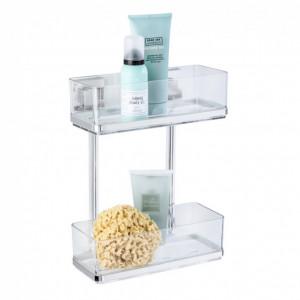 Etajera pentru accesorii de baie Vacuum Loc Quadro, otel inoxidabil/polistiren, transparent, 26 x 33 x 14 cm