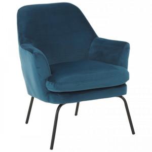 Fotoliu Chisa, din metal/poliester, albastru inchis, 73 x 68 x 83 cm
