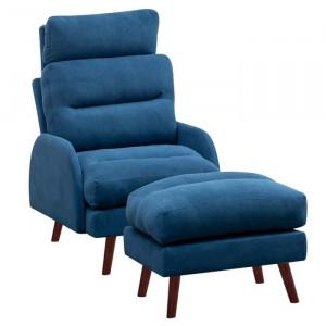 Fotoliu recliner cu scaun pentru picioare Fournier, albastru, 100 x 60 x 99 cm