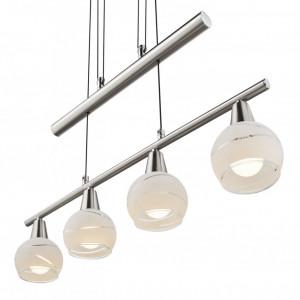 Lustra LED tip pendul Elliott sticla/fier, alb/argintiu, 4 becuri, 230 V, 3000 K