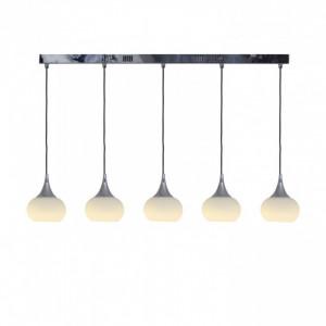 Lustra tip pendul LED Apart metal/sticla, argintiu, 5 becuri, diametru 13 cm, 21 W