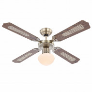 Lustra ventilator Champion I sticla inghetata/fier, 1 bec, maro, diametru 107 cm, 230 V