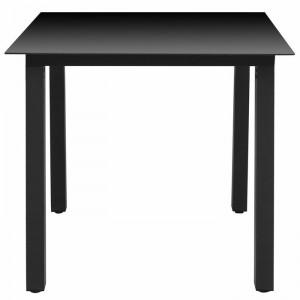 Masa de gradina Stembert, negru, 74 x 80 x 80 cm