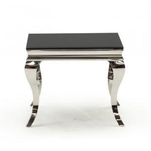 Masă laterală Crewe, negru/argintiu, 60 x 60 x 60 cm