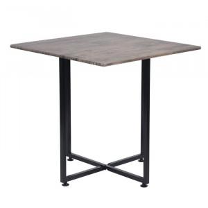 Masa, metal/MDF, neagra/maro, 80 x 80 x 78,5 cm