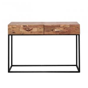 Masa tip consola Easterling, lemn/metal, neagra/maro, 76 x 110 x 35 cm