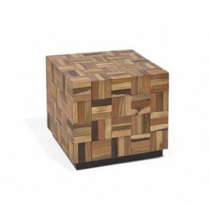 Masuta laterala Digiovanni, lemn masiv tec, 40 x 45 x 45 cm