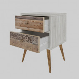 Noptiera Dole, lemn, alb/maro, 63 x 40 x 35 cm