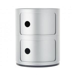 Noptieră rotundă cu două sertare cu design modular, 40 cm