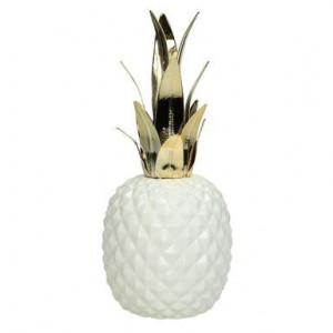 Obiect decorativ Pineapple alb/auriu, inaltime 32cm