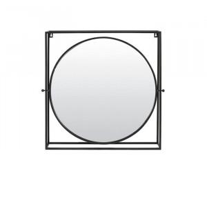 Oglinda Michigan, metal, neagra, 65,5 x 65 x 12 cm
