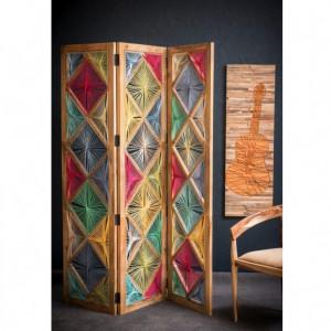 Paravan Verbena multicolor, lemn solid, 153 x 2.5 x 183 cm