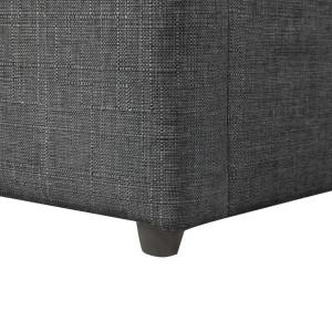 Pat din stofă gri cu lada de depozitare DINAN 160 x 200 cm
