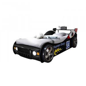 Pat model auto Grissett, cu LED, lemn, negru, 60 x 105 x 225 cm