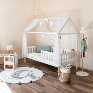 Pat pentru copii Gorlest, lemn masiv, alb, 165 x 92 x 167 cm