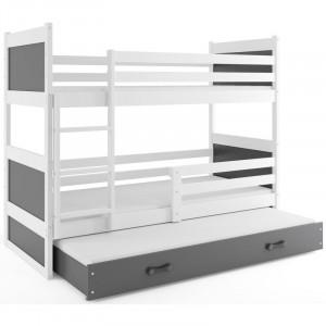 Pat supraetajat Yoselin cu sertar, alb/gri, 154 x 87 x 166 cm