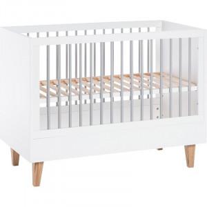 Patut pentru bebelusi Cioffi, alb/gri/maro, 97 x 144 x 75 cm