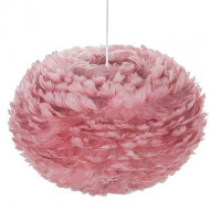 Pendul cu abajur din pene FOG, roz, cablu alb, 35 x 20 cm