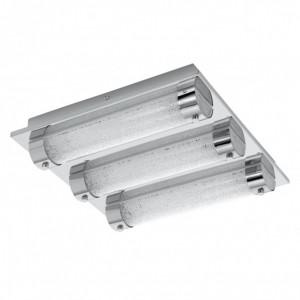 Plafoniera LED Tolorico II sticla / otel, 3 becuri, argintiu, 105 V