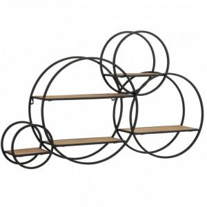 Raft de perete, metal/MDF, negru/maro, 84 x 54 x 13 cm