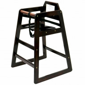 Scaun înalt pentru copii Oypla din lemn, maro închis
