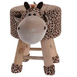 Scaun tapitat pentru copii Karll, Model girafa, Lemn, Maro