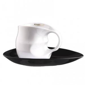 Set cafea Espressissimo pentru doua persoane, alb/negru, portelan
