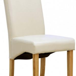 Set de 12 scaune de living Cambridge, piele sintetica, picioare lemn natur, crem
