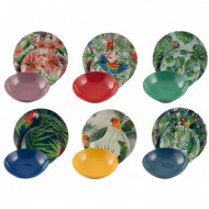 Set de 18 farfurii Parrot Jungle din porțelan