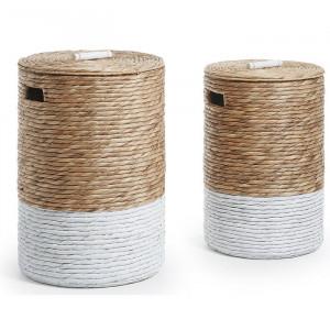 Set de 2 cosuri pentru rufe Immokalee, maro/alb