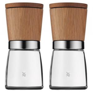Set de 2 rasnite de sare/piper Shaker, maro/transparent, 13,8 x 6 x 6 cm