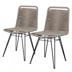 Set de 2 scaune Atlanta fier/tesatura, bej, 46 x 87 x 53 cm