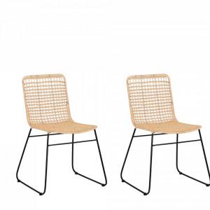 Set de 2 scaune Berito, negru/bej, 56 x 51 x 85 cm