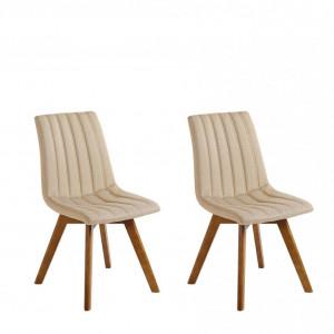 Set de 2 scaune Calgary, bej/maro, 45 x 53 x 84 cm