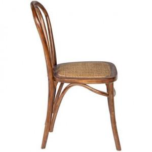 Set de 2 scaune Curvy, lemn de mesteacan/ratan, maro