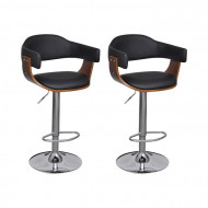 Set de 2 scaune de bar, PAL/metal, maro/negru, 54 x 46,5 cm