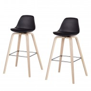 Set de 2 scaune de bar tapitate Vallvik I, negru